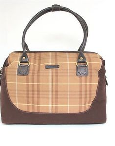 ec25a22cc42 Eddie Bauer Brown Plaid Canvas Vintage Duffel Carry On Travel Overnight Bag    eBay