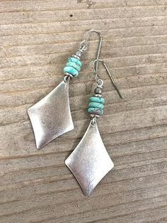 Silver and Genuine Turquoise Geometric Dangle Earrings
