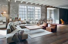 Love the L couch. Warehouse Apartment