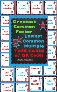 36 Task Cards - 18 GCF, 18 LCM.  Separate or combine them for great, fun review activities of Greatest Common Factors and Lowest Common Multiples! $