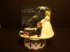 Video Game SKYRIM Bride and Groom Funny Wedding Cake Topper