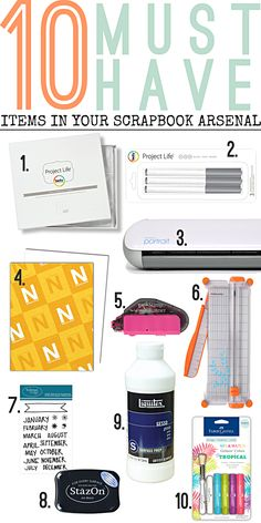 #list of 10 must haves for your #mixedmedia #projectlife #scrapbook arsenal