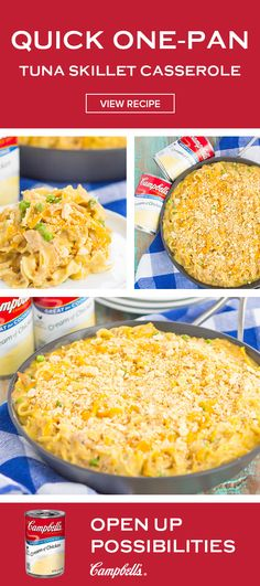 As the recipe starter for this Quick One-Pan Tuna Skillet Casserole, Campbell's® Condensed Cream of Chicken Soup is a pantry staple for a reason! Click to learn how easy it can be to make a classic comfort food creation for your dinner table. When you're in a dinnertime pinch, you'll be glad you saved this tasty recipe! Tuna Casserole, Casserole Dishes, Casserole Recipes, Crockpot Recipes, Tasty Recipe, Recipe For Mom, Entree Recipes, Fish Recipes, Seafood Recipes