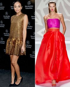 """POSSIBLY ASHLEY MADEKWE'S NEXT RED CARPET LOOK: At the Monique Lhuillier spring/summer 2014 show, the ever-stylish Ashley Madekwe called out one look as her favorite: """"The big orange ball gown skirt with a pink tube top. That's such a fantastic look. So sharp for spring, and it's not so stuffy. The tube top gives it a fun, young take."""" A possible contender for her next red carpet appearance? We hope so! —Reporting by Alyssa Bailey"""