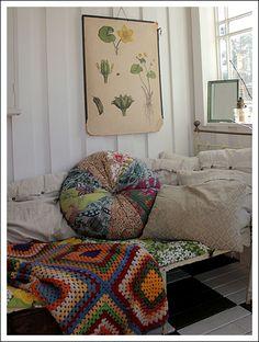 colorful sleeping nook