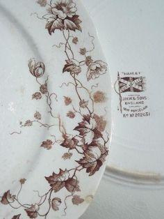 antique brown transferware plates, English Staffordshire ironstone china