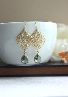 A Gypsy Art Deco Filigree Chandelier Grey Black Glass Gold Plated Drop Earrings. Maid of Honor. Bridesmaids Gifts. Boho Summer. Kite Shield on Etsy, $26.00