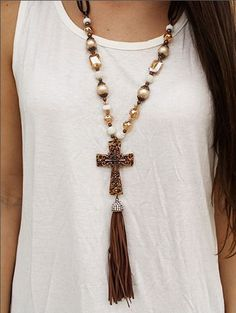Leopard Cross Pendant on Crystal Beaded Necklace with Leather Tassel