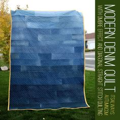 modern denim quilt upcycled recycled Denim Jeans DIY Craft Project and Tutorial for re-using denim Denim Quilts, Denim Quilt Patterns, Blue Jean Quilts, Denim Patchwork, Bag Patterns, Patchwork Quilting, Quilting Patterns, Quilting Tutorials, Quilting Projects