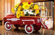 Vintage firetruck party: vintage toy with mini favor bags