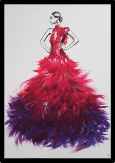 Painted Fashionillustration inspired by a Haute Couture Design of Alexander McQueen. Painted with acrylic colors. Fashion Artwork, Fashion Painting, Metallica, Dress Illustration, Feather Fashion, Haute Couture Dresses, Feather Dress, Fashion Sketchbook, Fashion Killa