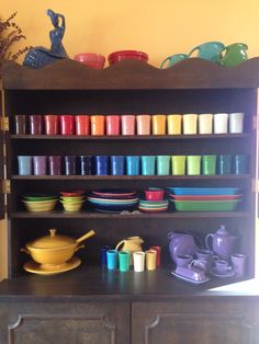 Amazing Rainbow Tumbler Collection w Marigold Tureen, Vintage Pitcher and Juice Set, and impressive assembly of Lilac tea and coffee service pieces, Cobalt Fiesta Lady on top