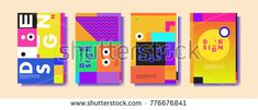 Colorful geometric poster and cover design. Minimal geometric pattern gradients backgrounds. Eps10 vector.