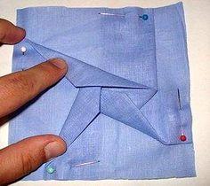 загибаем третий лучик звезды лоскутного блока в технике оригами