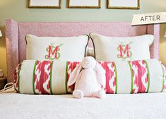 Gramercy home monogrammed pillows. . .love the three different fonts!