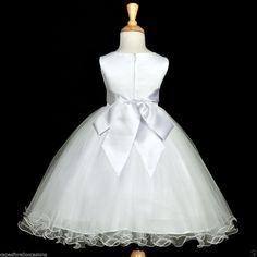 Add Sleeves??? WHITE COMMUNION EASTER BAPTISM WEDDING FLOWER GIRL DRESS 12-18M 2 3T 4 5T 6 8 10 #Dress