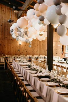 Add balloons above reception tables to wow your guests! PHOTO BY NATALIE PULS Wedding Balloon Decorations, Wedding Balloons, Garland Wedding, Birthday Decorations, Bride Balloon, Balloon Ceiling, Ceiling Decor, Balloon Garland, Large Balloons