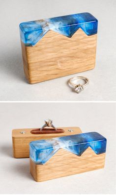 Unique wood and resin proposal ring holder. Curved Wedding Band, Wedding Ring Box, Pear Cut Engagement Rings, Engagement Ring Settings, Diy Engagement Ring Box, Resin Ring, Resin Jewelry, Proposal Ring Box, Wood Storage Box