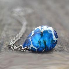 """Blue Gemstone Teardrop Pendant Necklace Catherine Jeltes Silver Midnight Impression Jasper"" - Gemstone on Chain, in Rustic Artisan Jewelry"