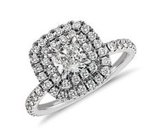 Double Halo Cushion Micropavé Diamond Ring in 18k White Gold