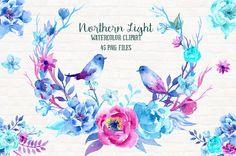Imágenes Prediseñadas acuarela Northern Light  peonía azul