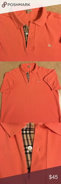 ☀️Men's Burberry Brit Polo Shirt XXL Men's Burberry Brit Polo Shirt.  XXL.  Nice Salmon color with Burberry Plaid trim.  Like brand new condition! Smoke-free home, bundle and save!  Summer is coming! Burberry Shirts Polos