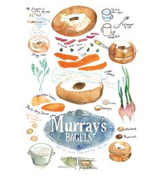 Recipe art Bagel poster Kitchen decor Food illustration Watercolor New York City Cooking print Manhattan. $38.00, via Etsy.
