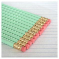 40 imperfect pastel mint green pencils. back to school supplies ❤ liked on Polyvore featuring school