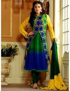 Buy Bollywood Salwar online Jacket Pattern Churidar Suit. http://www.bharatplaza.com/womens-wear/readymade-suits/bollywood-salwars.html