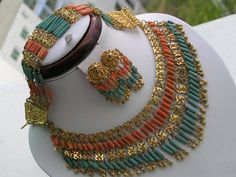 Rare Art Deco Egyptian revival Coral Bib Necklace by PritiStar, $275.00