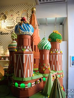 Christian Escribà creation for Easter, a huge Chocolate Russian Building. 'Mona'is a typical chocolate cake of Pascua's monday, the godfather gives his godson.