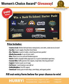 Enter to win a Back To School starter pack! Prize includes products from Coconut Bliss, Country Crock, Cugino's, Dell'Amore, De Wafelbakkers, Mrs. Thinsters, Sue Bee Honey, SweetLeaf, Welch's, Wholly Guacamole, and Wise!