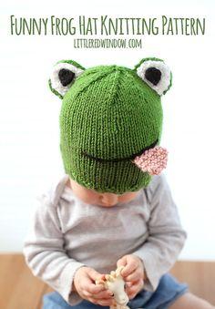 Divertida rana PATRÓN del sombrero de bebé que hace PUNTO - punto patrón del sombrero de rana, bebés, niños, niños - tamaños 0-3 meses, 6 meses, 12 meses, 2T +