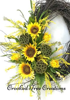 7 Fast And Easy Summer Decorating Ideas For Any Budget! Sunflower Arrangements, Fall Arrangements, Fall Wreaths, Door Wreaths, Grapevine Wreath, Lotus Pods, Yellow Wildflowers, Memorial Flowers, Sunflower Wreaths