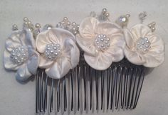 Handmade Raw Silk Ivory Flower Floral Comb - #hairaccessories Floral Spray Hair Comb - Bridal Headpiece - bridal fascinator - Ivory Wedding  https://www.etsy.com/listing/246969563/handmade-raw-silk-ivory-flower-foral