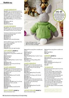 """Photo from album """"Simply Knitting No. 170 on - Baby - Knitting Ideas Baby Knitting Patterns, Teddy Bear Knitting Pattern, Knitted Doll Patterns, Christmas Knitting Patterns, Knitting Charts, Knitted Dolls, Free Knitting, Knitted Bunnies, Knitted Teddy Bear"""