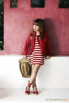 kids fashion, girls fashion, red, dress, stripes