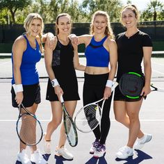 The at the US Open: Martina Hingis, Gaby Dabrowski, Jana Fett and Laura Siegemund. Lifestyle Clothing, Tennis Racket, Active Wear, In This Moment, Sports, Women, Fashion, Hs Sports, Moda