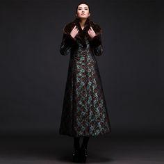 жаккардовое зимнее длинное пальто