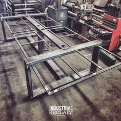 This new workstation has 48 HIDDEN power outlets. WIP IndustrialReclaim.com  #industrialfurniture#modernfurniture #design #art #handmade #decor #designer #interior #table #conference #industrial#artofchi #creative #steel #metal #metalwork #heavy #welding #industrialdesign #interiordesigner #interiordesign #modern #workstation #functional  #moderndesign #modernindustrial #chicago #insta_chicago #chicagogram
