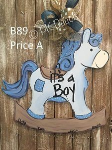 Rocking Horse Baby Wood Decor 24 8243 Personalize Colors Nursery Baby Shower Hospital Door Hanger Birth Announcement New Born kidswoodcraftRocking Ho… – Baby Shower Horse Baby Showers, Distintivos Baby Shower, Mesas Para Baby Shower, Cowboy Baby Shower, Hospital Door Hangers, Baby Door Hangers, Burlap Door Hangers, Baby Boy Birth Announcement, Kids Wood