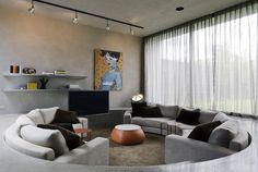 An amazing sunken lounge, interior design by Chelsea Hing at the Binnie St house by architect Richard Kerr.
