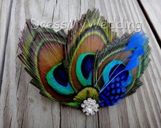 Peacock hair clip, fascinator, hair accessories, replace the green/blue with your wedding color