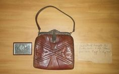 Antique Jemco Art Deco Egyptian Revival Leather Brass Purse Hand Bag #Jemco #HandBag #Formal