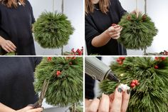 Christmas DIY PomPoms made of coniferous branches - craftifair - DIY Christmas PomPoms - Christmas Pom Pom, Plaid Christmas, Christmas Holidays, Christmas Wreaths, Christmas Ornaments, Christmas Ideas, Merry Christmas, Christmas Arrangements, Outdoor Christmas Decorations