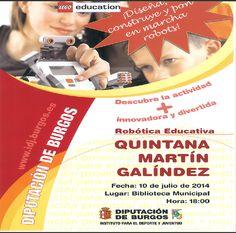 10/7 Taller de robotica educativa. Quintana Martin Galindez 18:00h Biblioteca Municipal