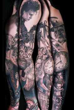 Tattoo Artist - Niki Norberg - All Tim Burton films! Tribal Tattoos, Body Art Tattoos, Sleeve Tattoos, Tatoos, Key Tattoos, Skull Tattoos, Badass Tattoos, Great Tattoos, Beautiful Tattoos