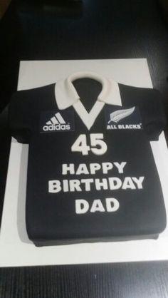 All Blacks jersey Happy Birthday Dad, Birthday Cakes For Men, 70th Birthday, Birthday Parties, Maori All Blacks, All Blacks Rugby, Rugby Cake, Nerf Party, Cake Ideas