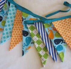 Nautical Whales Fabric Bunting Banner - Party Flags or Room Decor. $34.00, via Etsy.
