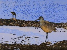 Long Billed Curlew by Andrea Rich | Woodcut Print | Long Billed Curlew